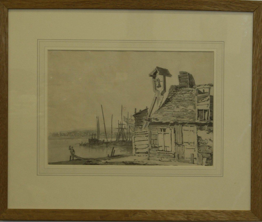 Pencil on paper Thames Estuary signed Joseph Turner