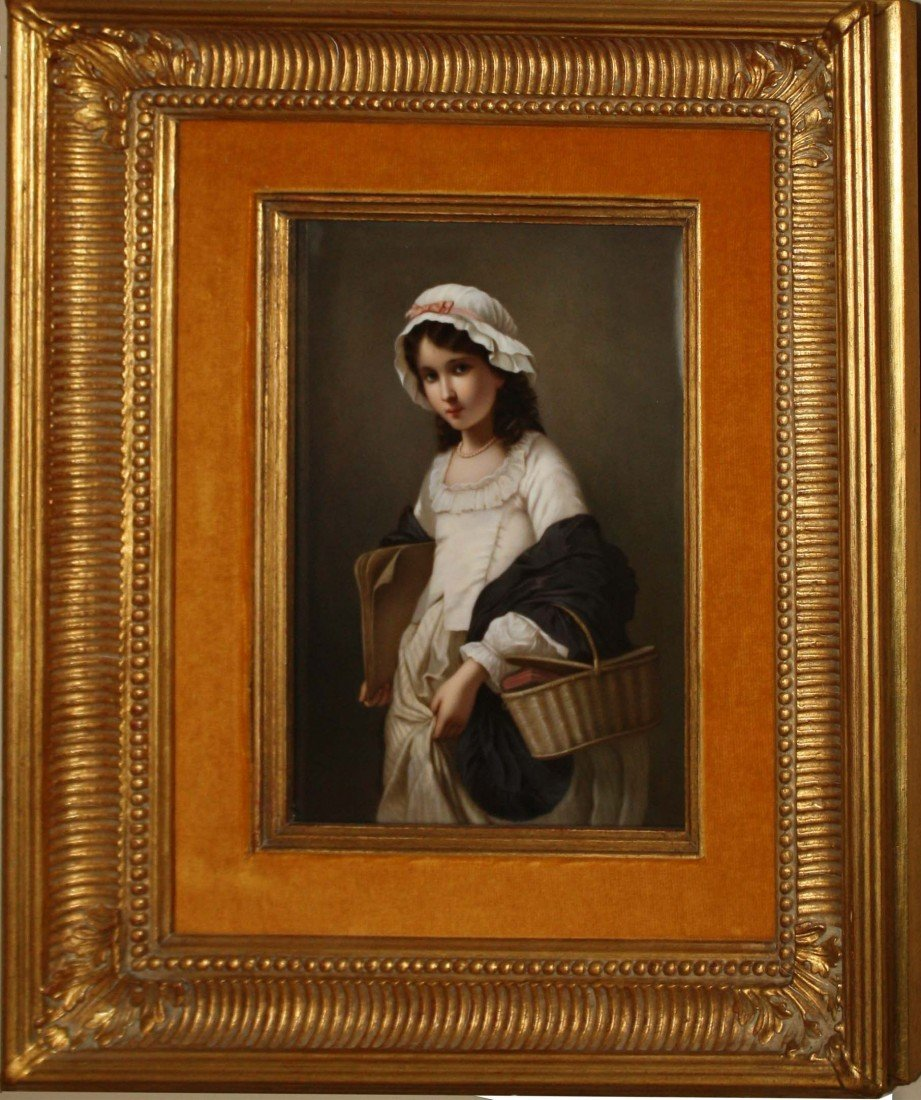 9 x 6 inch porcelain KPM plaque of girl with basket of