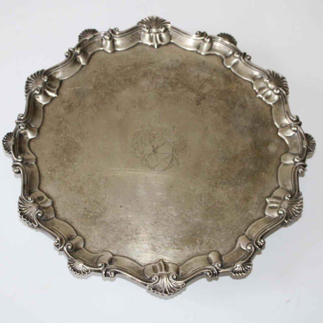 13 inch English silver footed salver marked EC (Ebeneze