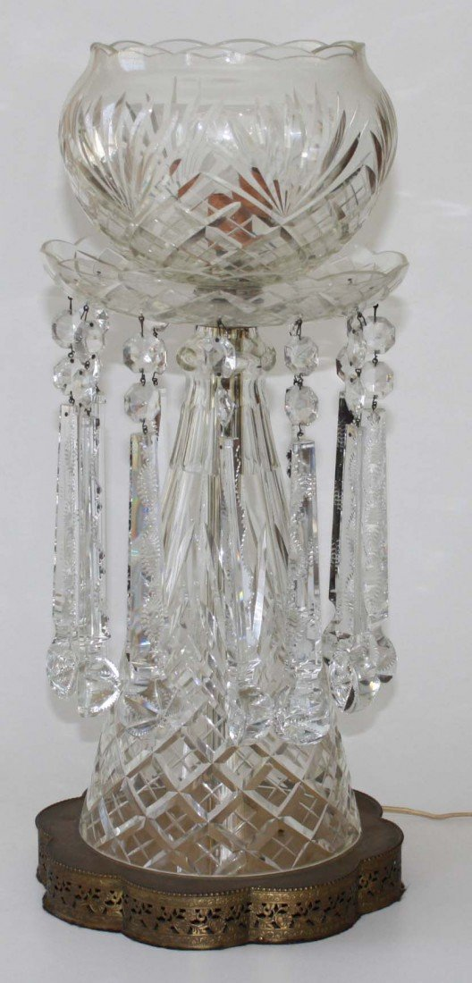 23 inch high monumental Waterford cut glass table lamp