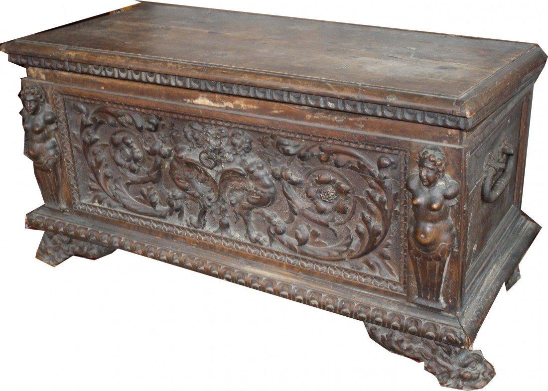 17th century Italian cassone in untouched original cond