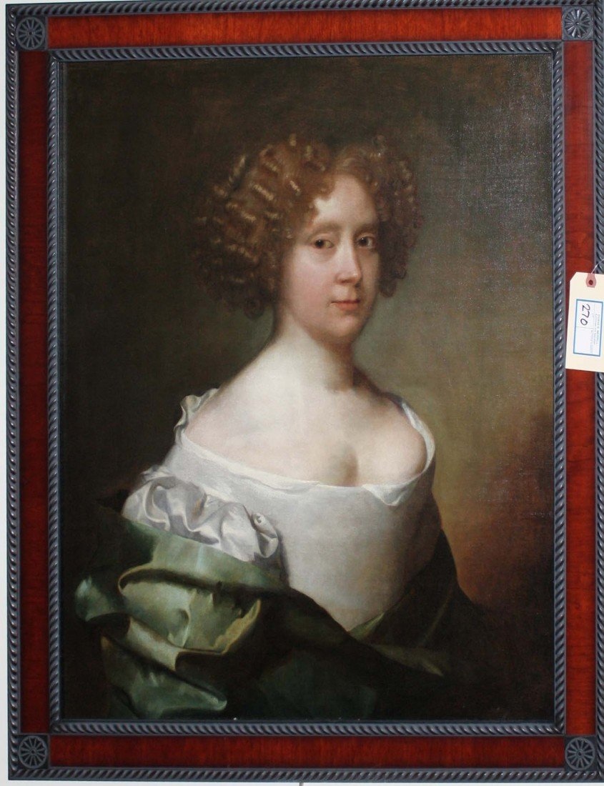 25 x 29 inch 18th century portrait of a red haired woma