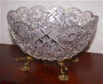 Cut crystal bowl on gilt footed frame