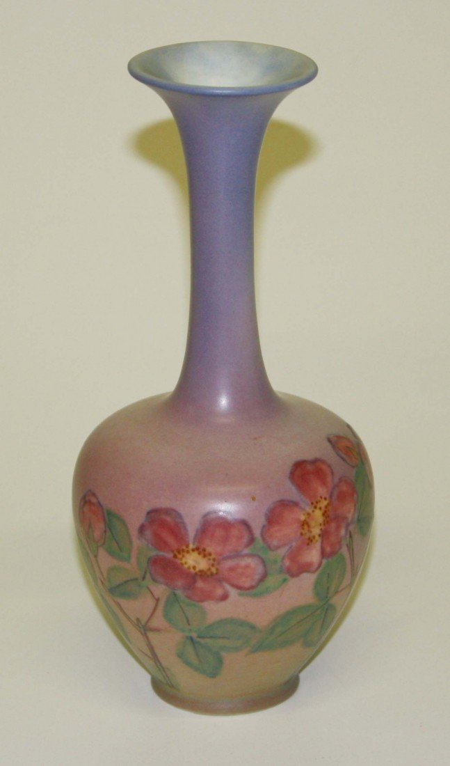 8: Rookwood 10 inch floral decorated wax matt vase sign