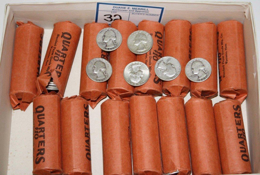 32: $150 face value US silver quarters 108.5 troy oz