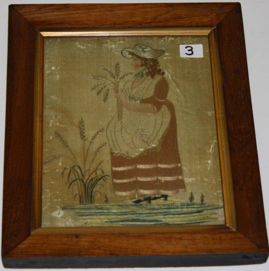 3: 1790 needlework on silk full length profile portrait