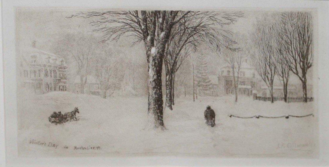 6: J F Gilman A Winters Day Montpelier VT 4 x 8 inch en