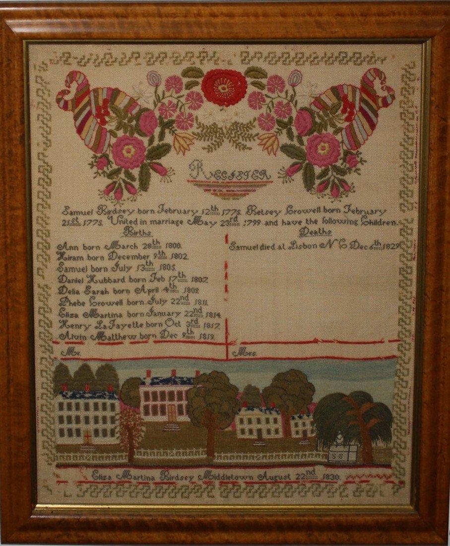 13: 1830 Eliza Birdsey- Middletown needlework family re