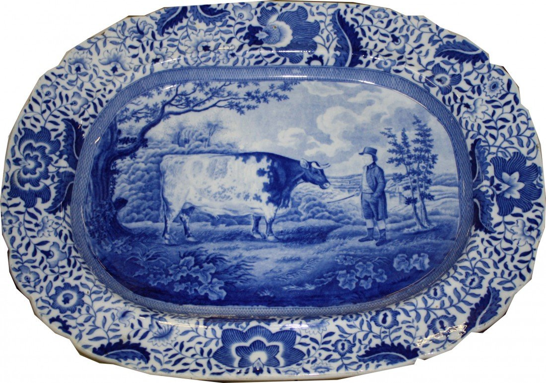 14: 20 inch blue Staffordshire prize cow platter