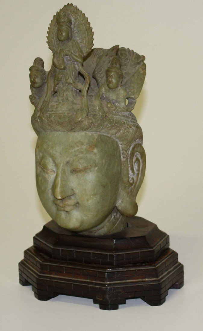 19: SE Asian carved jade bust of Buddha 13 in high ex W
