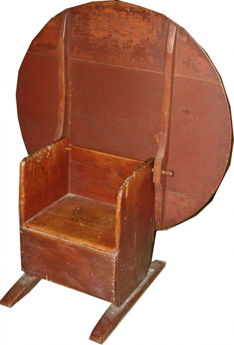 20: 18th century shoe foot hutch table in original red