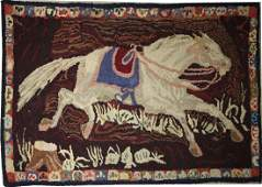 53: running horse hooked rug 30 x 56 inches