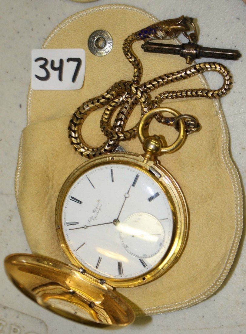 347: 18 k yellow gold pocket watch with gold and enamel