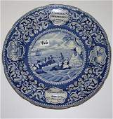 466: blue Staffordshire plate- american Independence