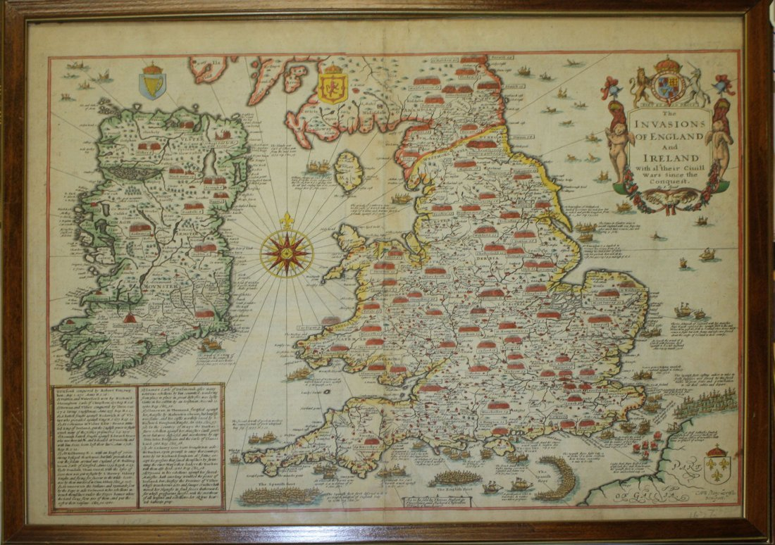 1676 John Speede map of the Invasions of England &