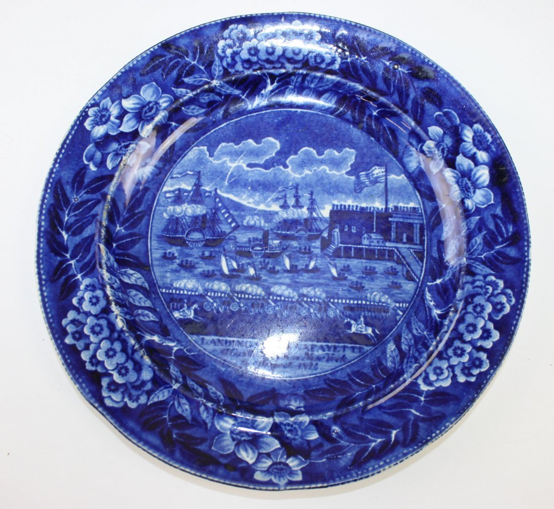 "Historical deep blue Staffordshire ""Landing of"
