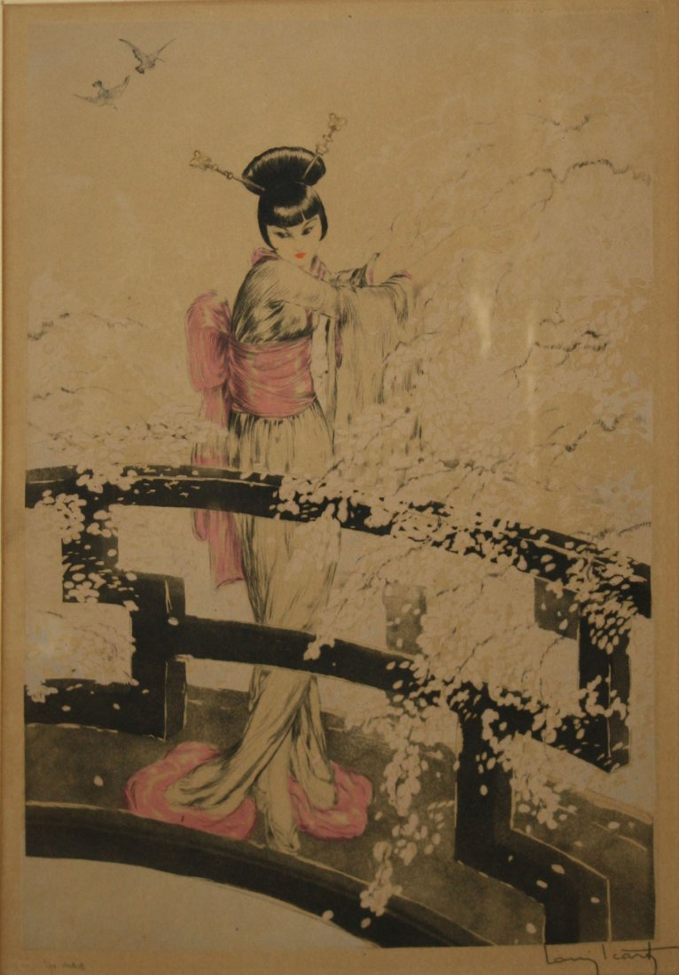 Louis Icart (French 1888-1950) Geisha on a bridge 21 x