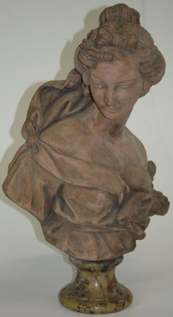 dated 1753 French terra cotta bust of a beautiful woman