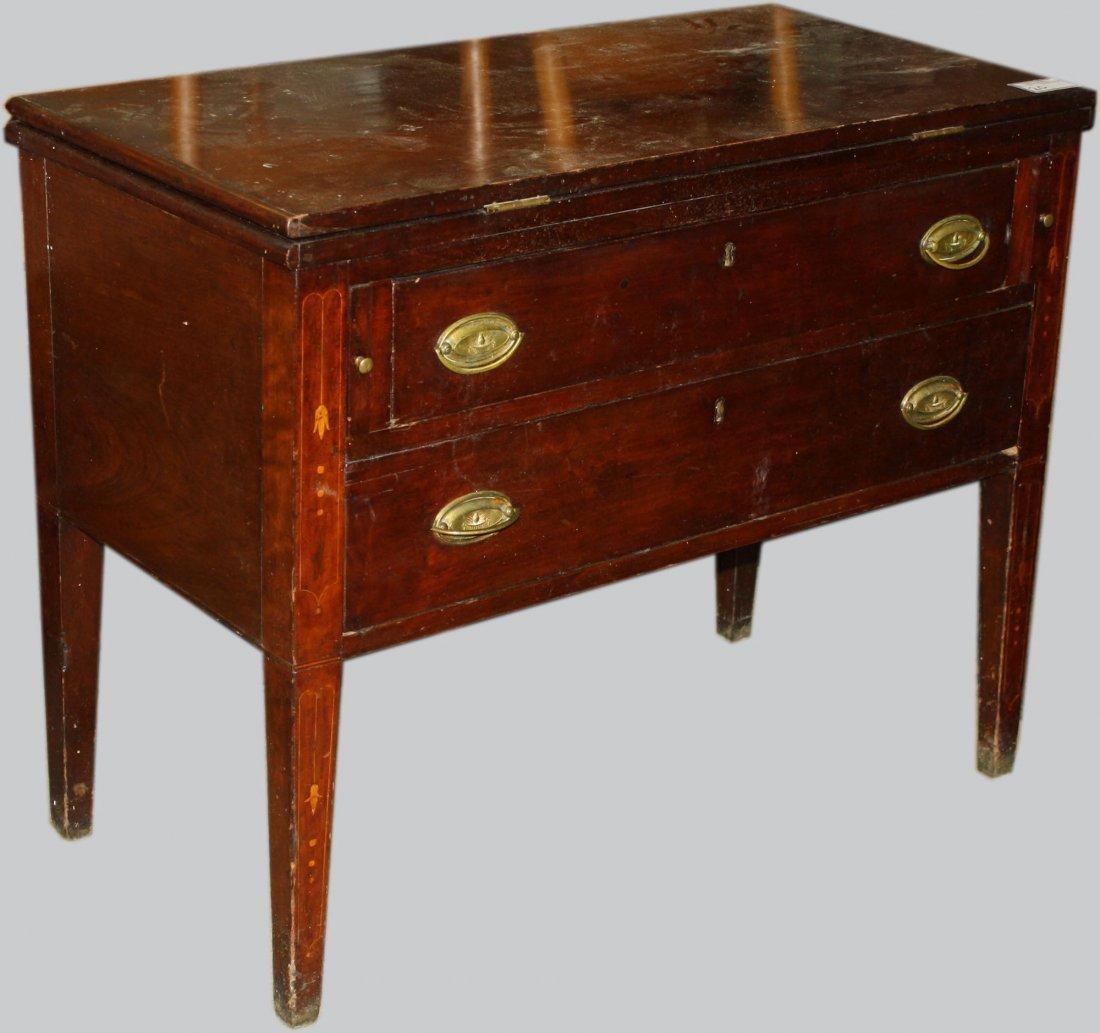Kentucky Hepp. Bellflower inlaid cherry flip top desk