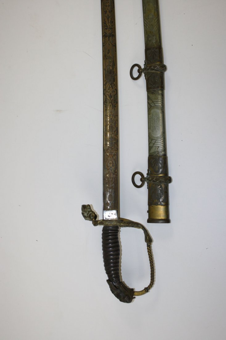 Tiffany & Co engraved presentation sword presented to