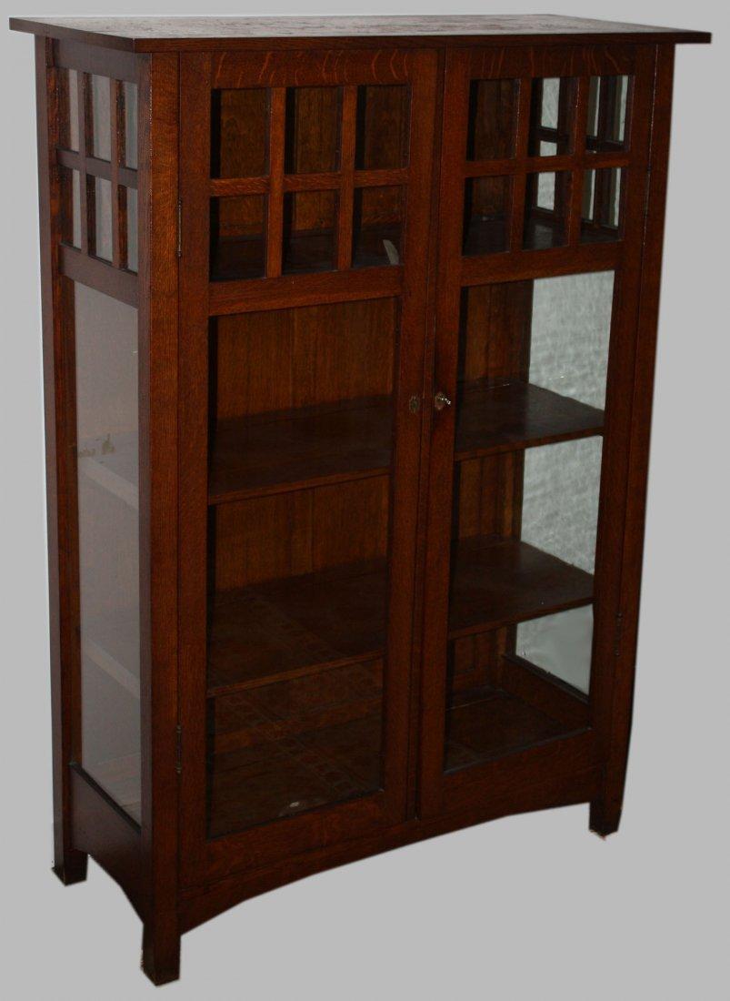 "L. & J. G. Stickley #746 oak china closet. 62"" H. Good"