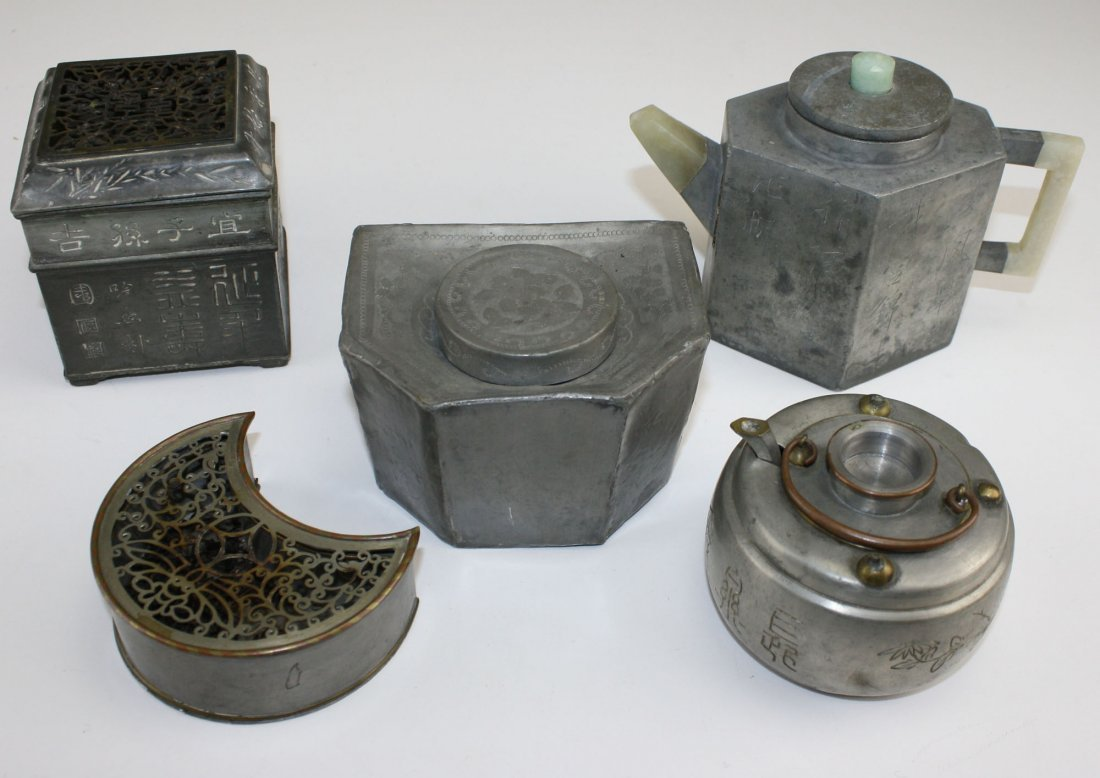 5 Chinese pewter pcs including teapot w/ jade handles-