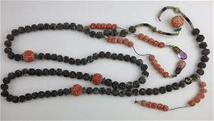 Chinese ca. 1900 necklace with carved nut beads, coral