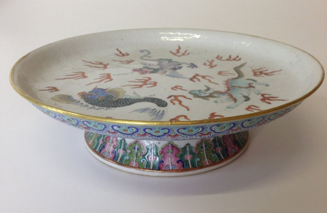 Chinese 19th c export porcelain footed compote with