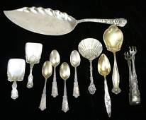 11 pcs ornate American sterling silver flatware incl lg