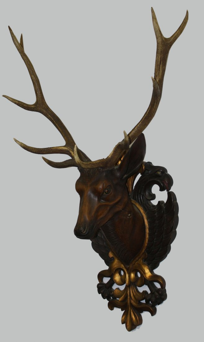 20th c German black forest red deer antler mount with