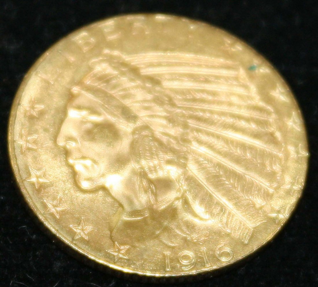 1916 US $5 Indian Head gold coin