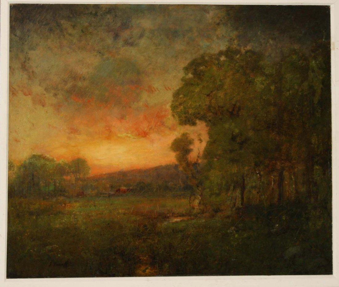 George Inness (Am 1895-1924) Tonalist landscape o/c 24