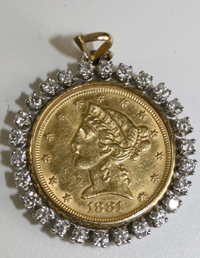 1881 US $5 gold half eagle mounted in a removeable 14k