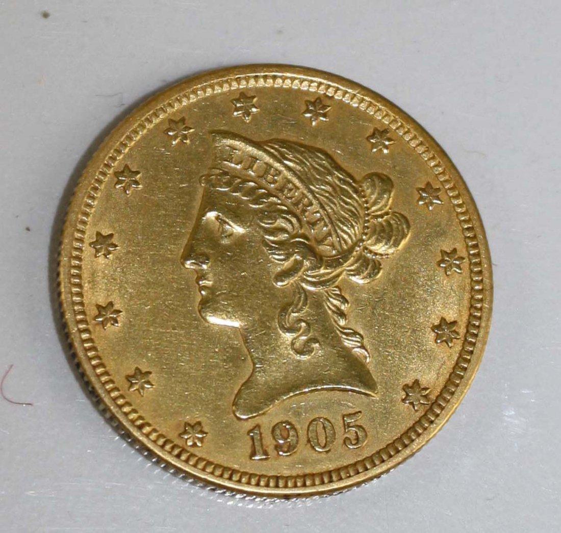 1905 US $10 gold eagle
