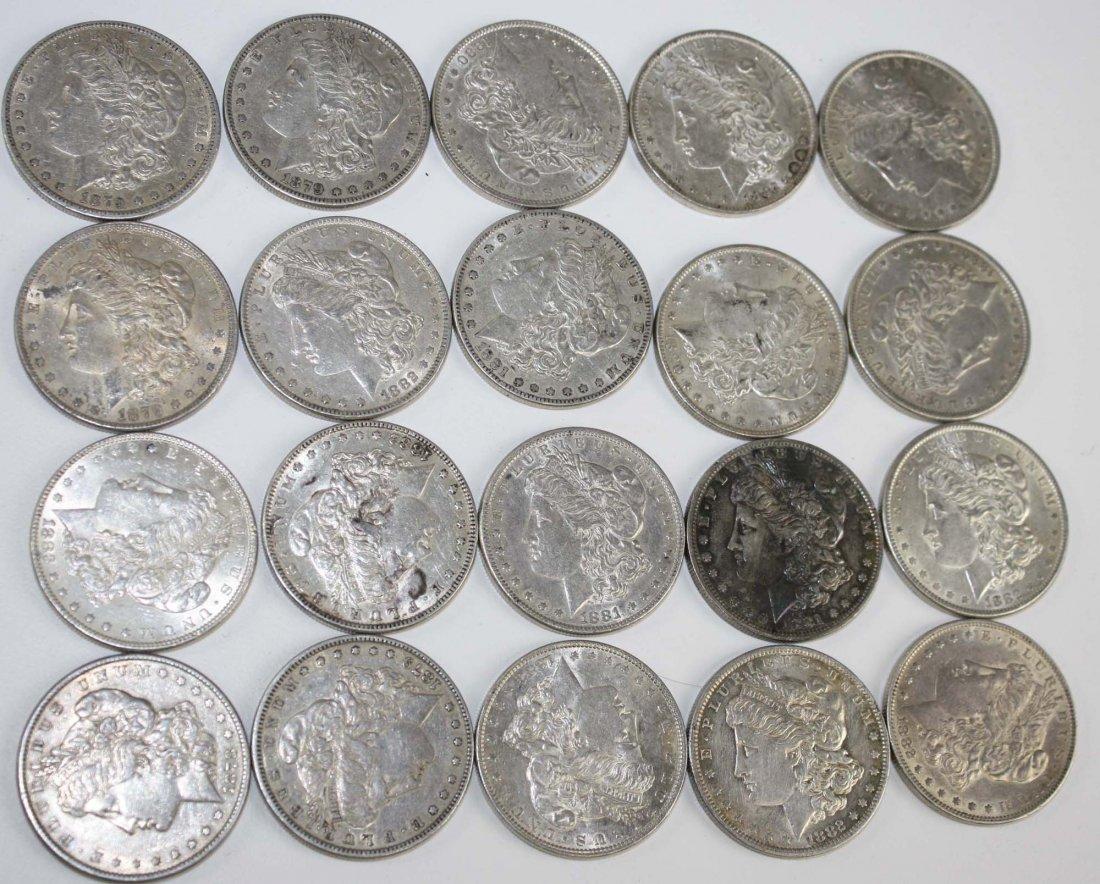 20 US Morgan silver dollars mostly 1882, 1883 incl