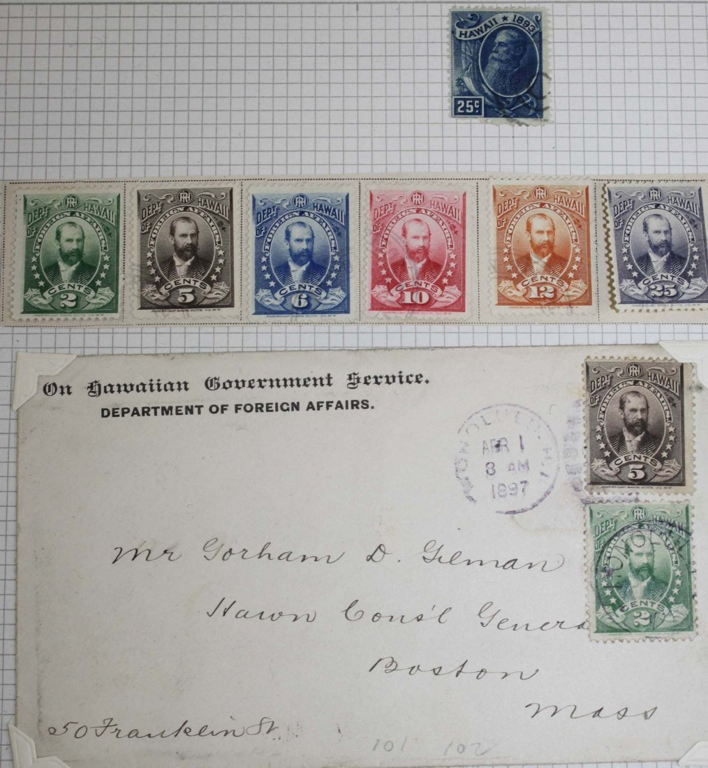 World postal cover & stamp binder including Hawaiian