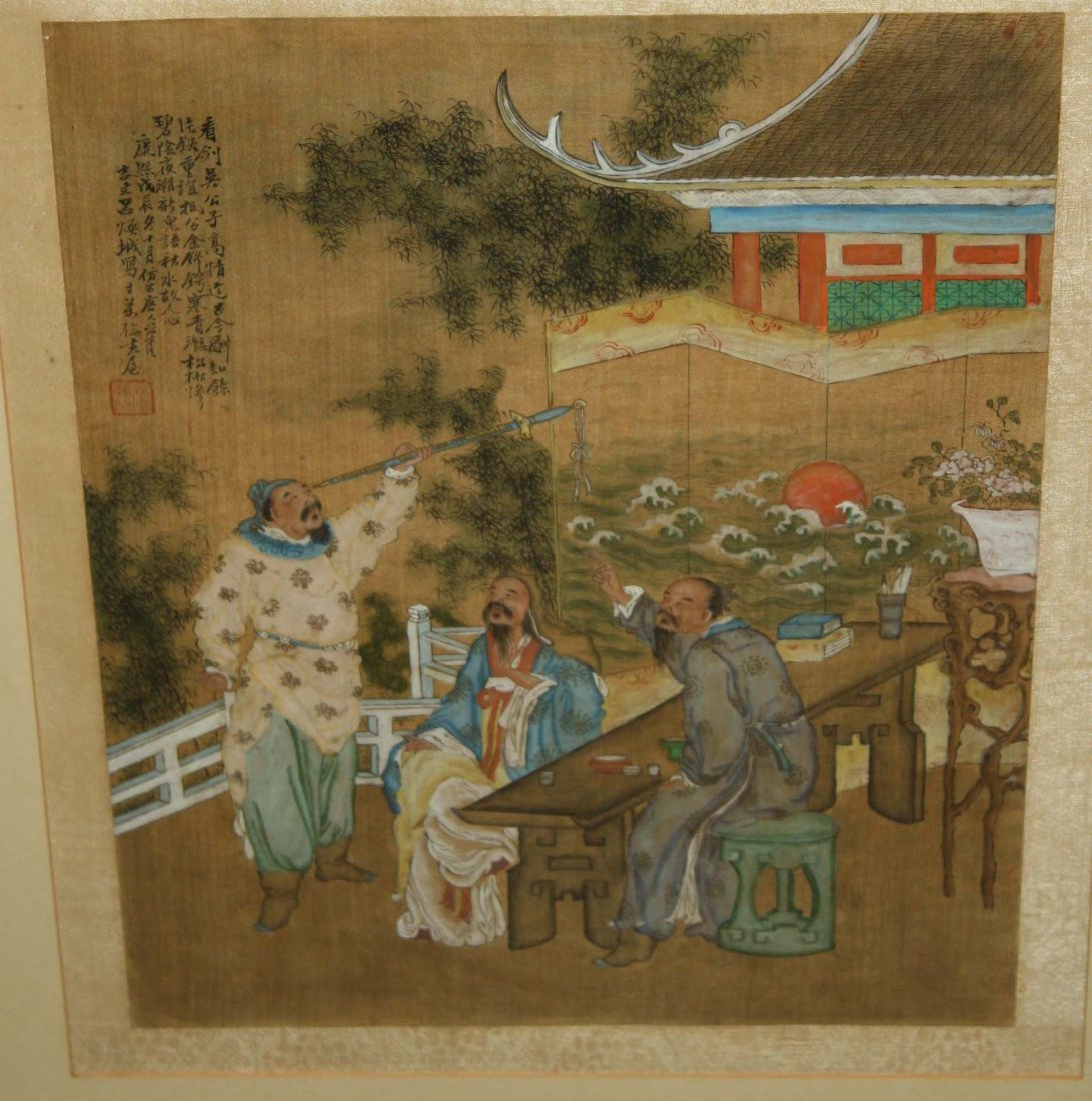 19th c Chinese watercolor on silk of three men
