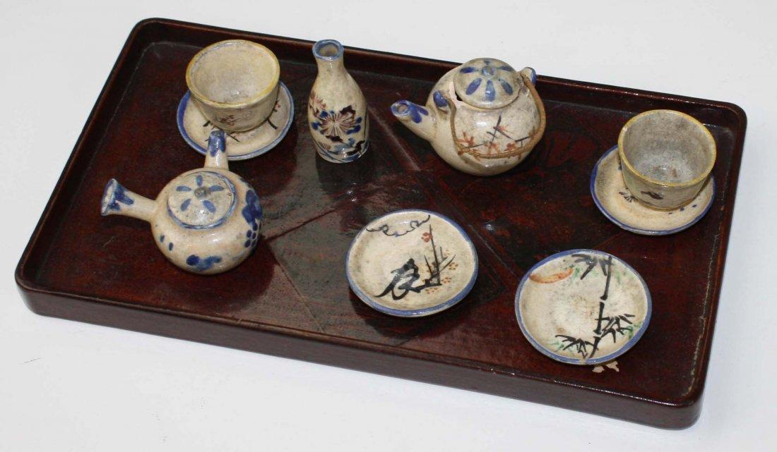 Japanese miniature tea & sake set w/ lacquered tray-