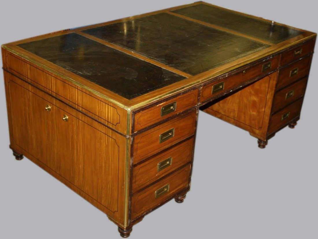Very fine wood partners desk & chair by Baker Furniture