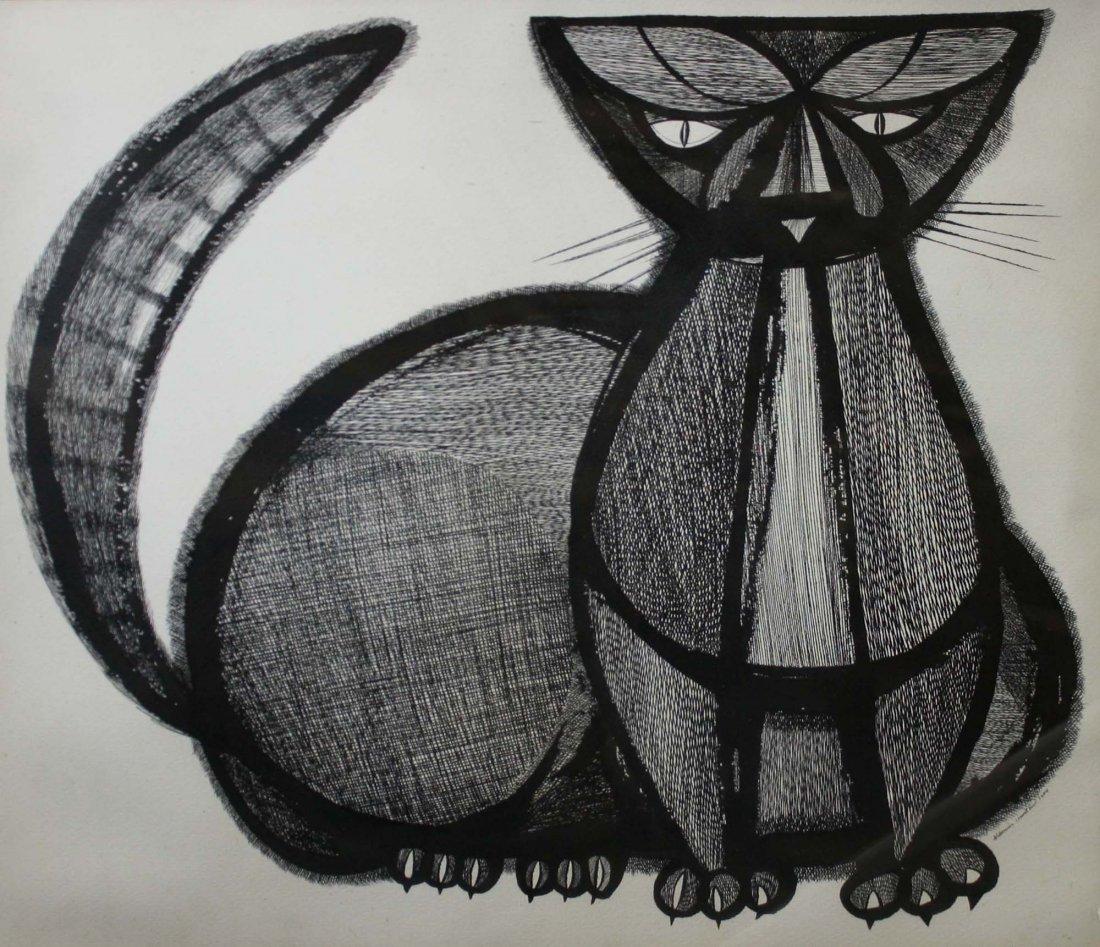 Aldemir Martins (Brazil 1922-2006) Gato II -Ink on