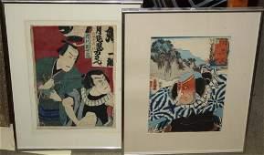 Two Japanese Edo period Ukiyoe woodblock prints of