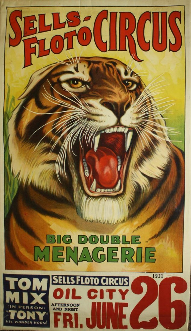 Sells-Floto Circus / Big Double Menagerie- Tom Mix (in