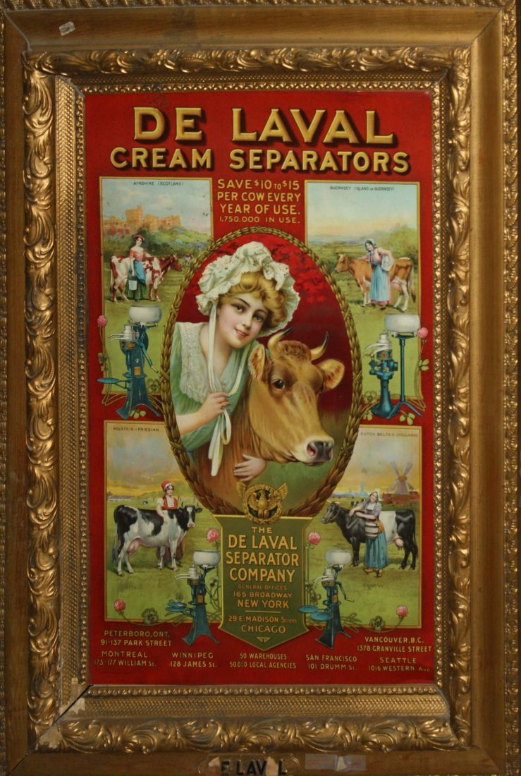 De Laval Cream Separators  tin litho sign with  with