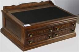 Merrick's Spool Cotton -Oak Spool Cabinet/country store