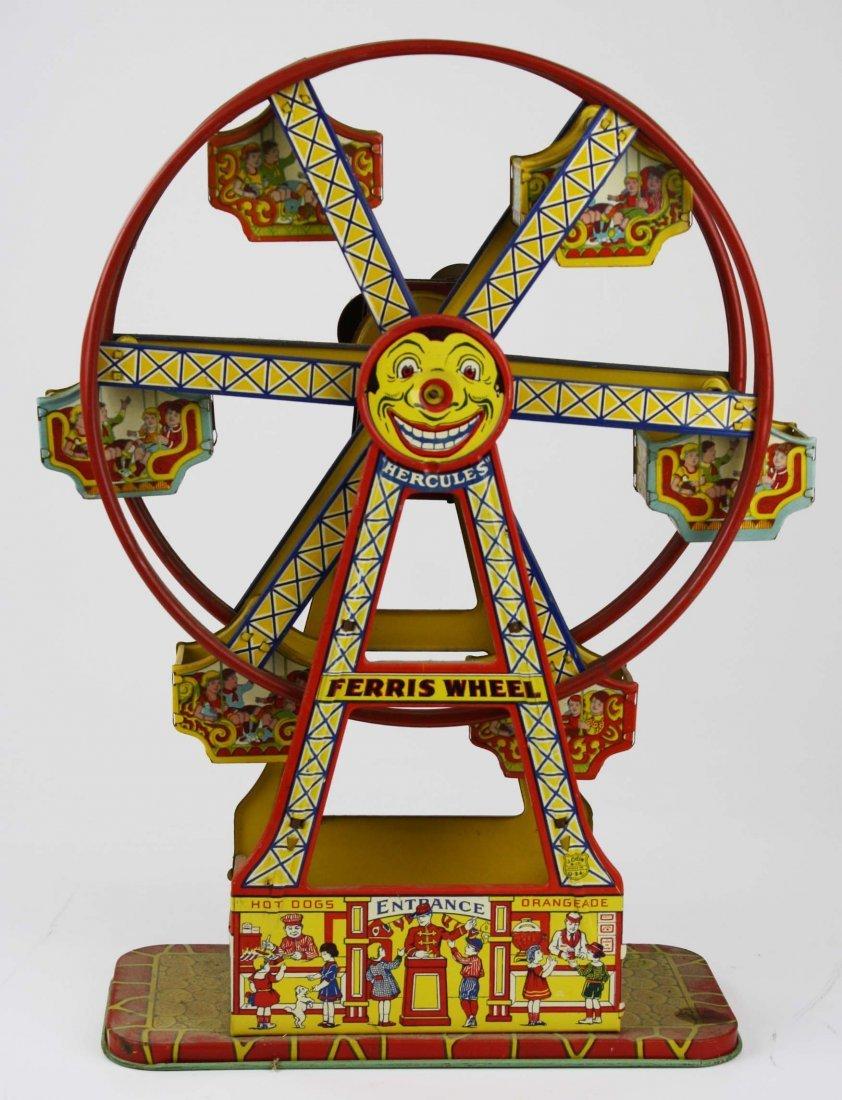 """J Chein Ferris Wheel tin litho toy, working, ht 16.5"""""""