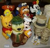 11 Comic Cookie jars including Disney Roseville McCoy