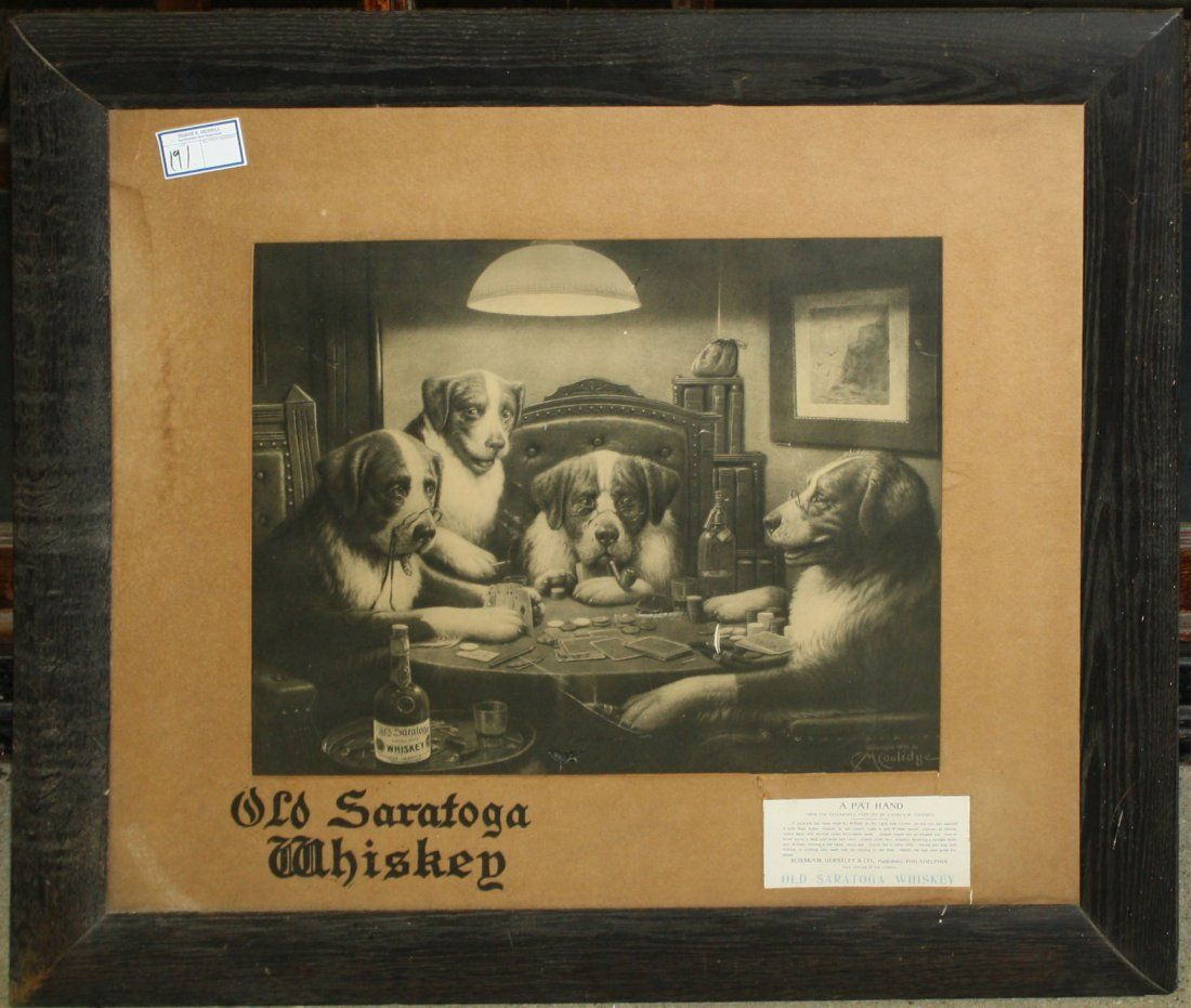 Old Saratoga Whiskey litho advertisement of dogs