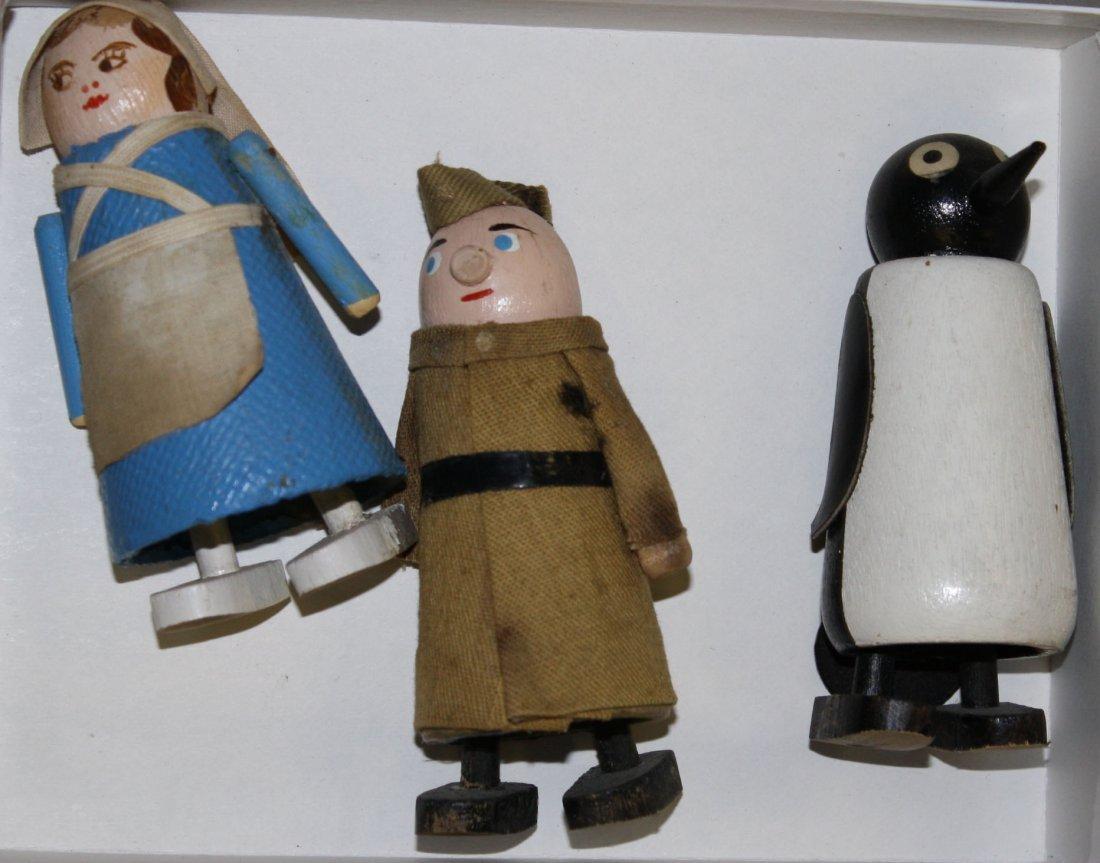 Nurse, Soldier, & Penguin vintage ramp walker toys- ht