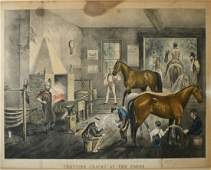 Currier and Ives Large folio lithograph Trotting