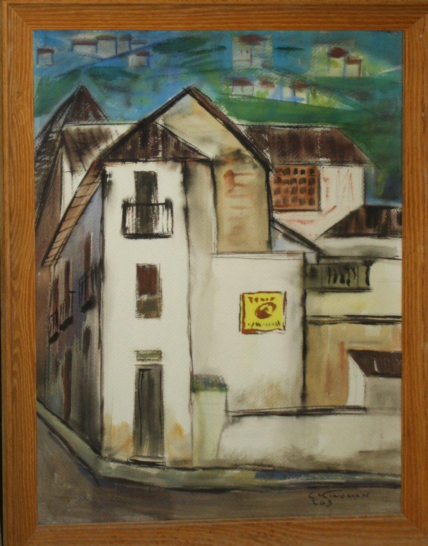 Eduardo Kingman (Ecuador 1913-1994) Town scene- wc 29 x